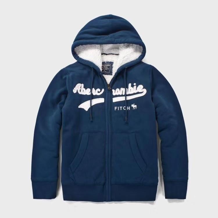 d1f1d77e Мужская толстовка с мехом Abercrombie & Fitch цвет синий артикул ...
